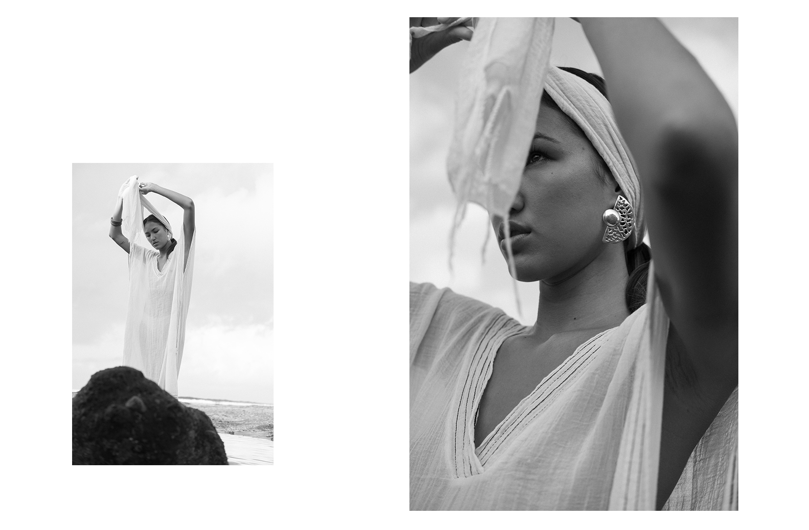 danielle fisser model bali indonesia photography editorial black and white kaftan