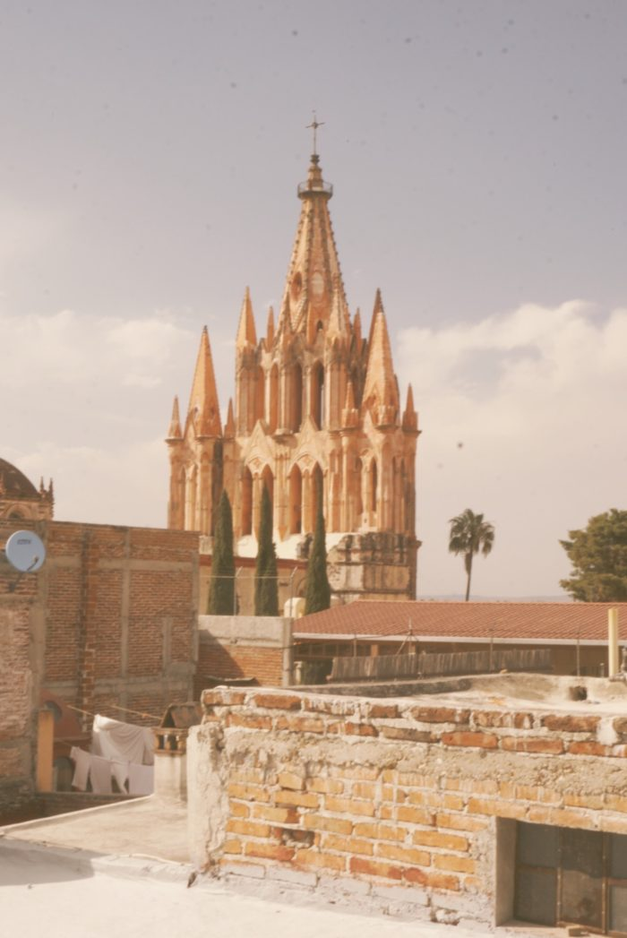san miguel de allende - parish of san miguel archangel - view from terrace - magestic rose church - street life -photography - mexico