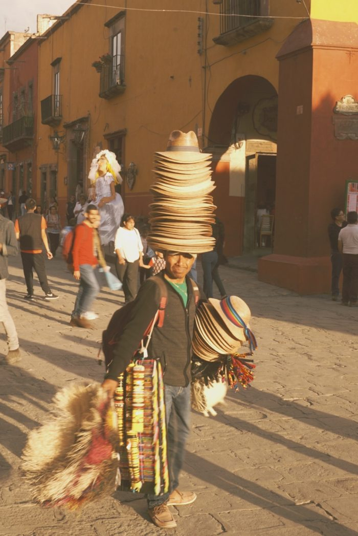 san miguel de allende - hat man - lifestyle - trade work - street life - mexico